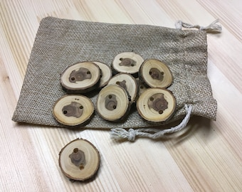 Natural Wood Buttons, Plum Buttons, Tree Slice Buttons, Wooden Buttons - Quantity 10