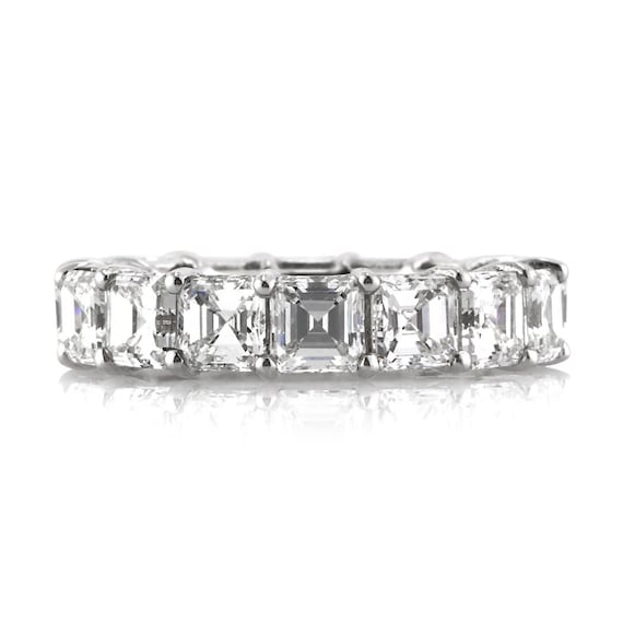 Items similar to 8.00ct Asscher Cut Diamond Eternity Band ...
