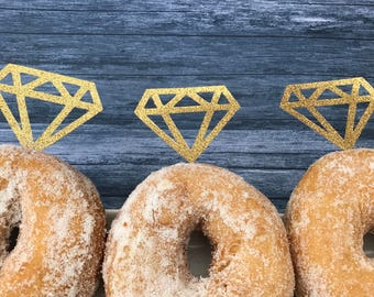 Doughnut Gold or Silver Diamond / Donut Toppers x 12 - Weddings Ring Donut Topper, Bride To Be, Bachelorette Party, Hen Party, Decorations