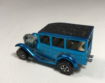 Vintage 1968 Hot Wheels Red Line Classic 31 Ford Woody USA Base Blue