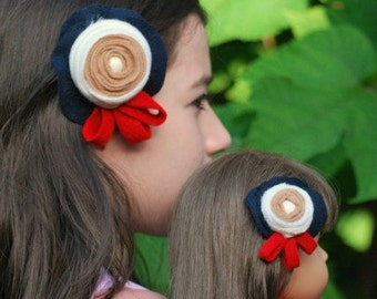 Back to School My American Girl Doll & Me Sailor Set 2 Hair Clips, AG Matching Uniform, Red Navy Ivory Tan Flower, Just Like Mommy Daughter