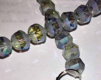 Blue gray half and half Faceted round glass beads with iridescent band around middle (16) 7MM unique beads
