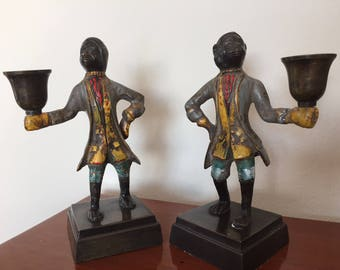 Pair of painted bronze candlestick