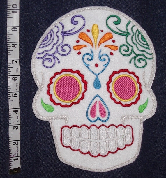 Mexican Day of the Dead Sugar Skull Patch Embroidery black and limeSugar Skull, Day of the Dead, embroidery patch '1'