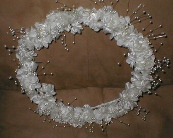 Vintage Floral Wreath with pearls Wedding Headpiece