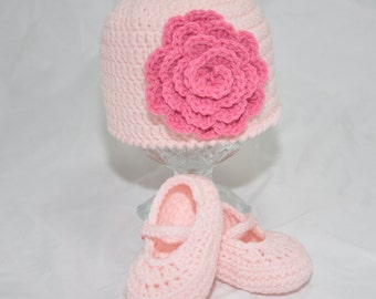 Baby Beanie with Mary Jane Booties in Light Pink with a Rose colored flower in size 0 to 3 months