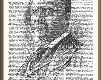Theodore Roosevelt 26th U.S. President///Vintage Dictionary Art Print---Fits 8x10 Mat or Frame