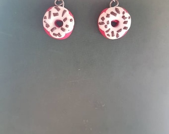 Earrings red donuts