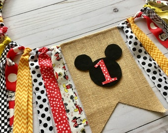 Mickey Mouse Birthday Fabric Garland