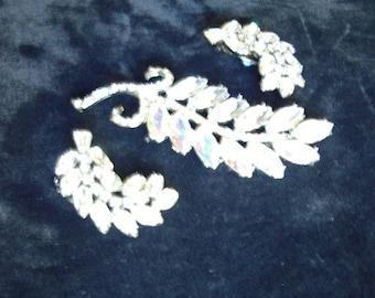 SALE!  2 Tone Marquis AB/ Rhinestone Leaf Design Brooch /Clip Earrings Item # 792  Jewelry