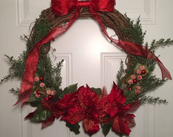 Christmas wreath, grapevine wreath, poinsettia wreath