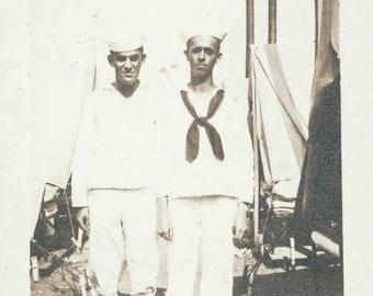 2 Sailor Guys on Deck Ship original vintage photo
