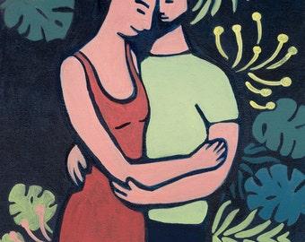 The hug, art print, limited edition, fine art paper.