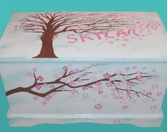 Custom Cherry Blossom Toy Chest or Hope Chest