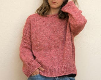 Soft Alpaca/cotton sweater with ribbed apertures natural/salmon, hand knitted, oversized