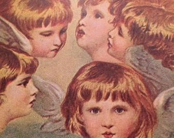 Victorian Christmas Postcard - Heads of Angels - Wings - Jennie Jorgenson