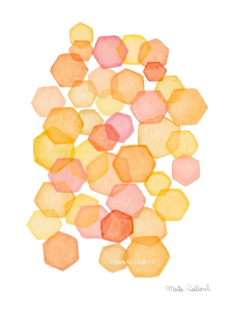 Geometric abstract modern art print. Hexagons watercolor