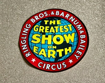 1950s Ringling Brothers Barnum & Bailey The Greatest Show on Earth circus luggage sticker