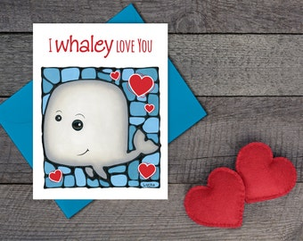 Whale Greeting Card - Love Card - Cute Card For Him - Romantic Card - Anniversary Card - Thinking of You Card - Valentine's Day Card