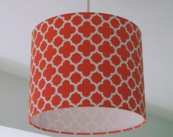 Handmade Riley Blake Quatrefoil Geometric Bright Orange Lampshade 20cm 25cm 30cm Lightshade