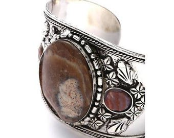 Tribal SILVER CUFF Bracelet ,Unique Cuff  with Brown natural Agate stone Kuchi Kucchi Jewelry natural Boho jewelry by TANEESI