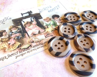 7 Tan & Black Striped Vintage Buttons 3/4 Inch for Sewing Crafts Scrapbooking Cardmaking Jewelry