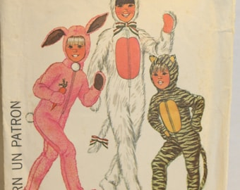 Sewing Pattern 7683 Simplicity 1976 Boy and Girl Animal Costumes with detachable head piece. Cat-Tiger-Bunny- Size 2