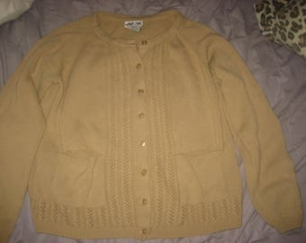 Tan Button-Up Two Pocket Knit Sweater