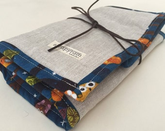 Circular Knitting Needle Case - Gift for Knitter-Linen with Fun Owl Print CottonTrim