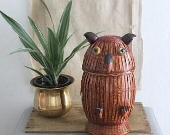 Vintage Lidded Owl Basket