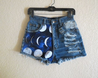 ALL SIZES: galaxy Moon phase high waisted denim shorts