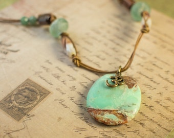 Large Aqua and Brown Gemstone Pendant and Ohm Charm Leather Necklace
