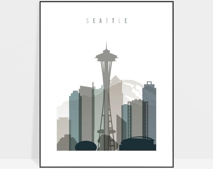 Seattle skyline art print, Seattle poster, Wall art, Travel Gift, City print, Bedroom Decor, Wall Decor, Home Decor, ArtPrintsVicky