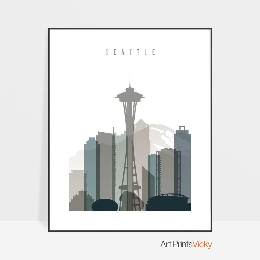 Best Seattle skyline art print, Seattle poster, Wall art, Travel Gift  NW89