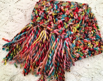 Hand-made Crochet Scarf with Fringe - Multi Color - Bulky Chunky - Gift for Her - Colorful