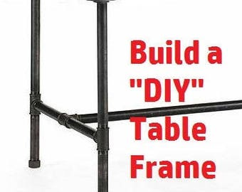 "Industrial Black Iron Pipe Table Base/Table Frame/ Table Legs - 1"" Diameter Pipe X 54"" Long - You choose Height & Width, Frame Kit"