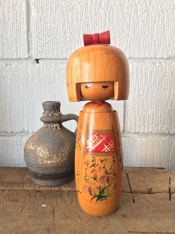 Vintage 1970's Kokeshi Japanese Wooden Hand Painted Doll