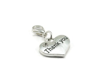 Thank You Zipper Pull Heart Purse Charm Silver Clip On Charms