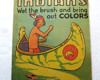 Vintage Indians Wet The Bush Book - Vintage Indian Colorbook - Water Paint Book