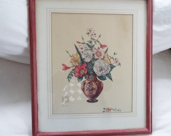 1930s Hand colored engraving Grecian urn flowers by Dimitry Alexandroff