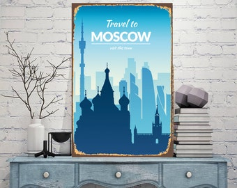 Moscow Print Metal, Travel Sign, Moscow Metal Art, Home Decor, Custom Sign, Metal Travel to Moscow, Decor Sign, Russia Home Decor, Art Print
