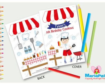 6 Cooking Coloring Books, Barbecue Party, BBQ Party,  Personalized Coloring Books Party Favors  A1234