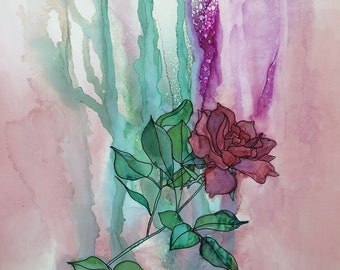 Pink Rose From Mother's Garden : Fine Art Print