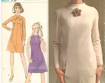 Simplicity 7239 1960s Misses A Line Dress Pattern Funnel Neck Seam Interest Womens Vintage Sewing Pattern Size 12 Bust 34