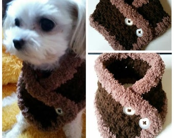 Crocheted Small Dog neck warmer, Dog Scarf, Puppy scarf fits most S or M dogs or Cats