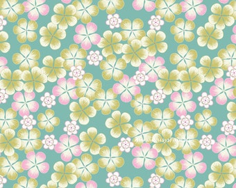Spring Flower Fabric, Lewis Irene Tropicana A135.1, Floral Fabric, Pink, Green, Aqua, Hawaiian Tropical Floral Quilt Fabric, Cotton Yardage
