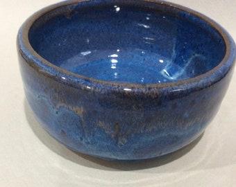 blue ceramic pottery bowl- prep bowl- dish-handmade pottery- soup bowl - serving dish -in stock  B10