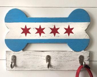 Chicago Bone Hook Chicago Dog Leash Hook Chicago Flag Dog Leash Holder Chicago Lover Pet Gift