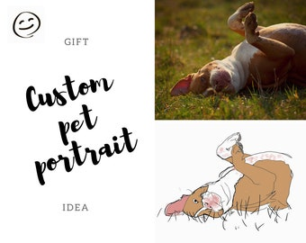 Dog art, Custom pet portrait, Custom pitbull art, Dog Lover gift, Personalized dog Portrait, Digital wall art, printable wall art