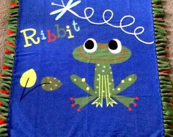 Ribbit frog print fleece tie blanket, reversible blanket, nursery blanket